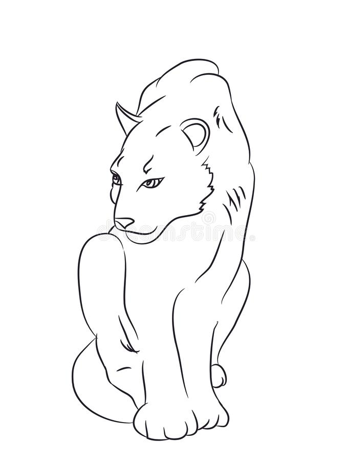 A pantera senta-se, tirado por linhas, vetor ilustração do vetor