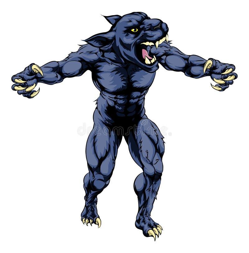 Pantera sportów straszna maskotka ilustracja wektor