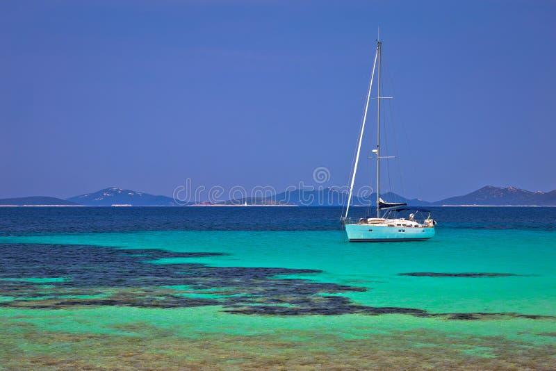 Pantera turquoise beach on Dugi Otok island archipelago sailing. Destination, Dalmatia region of Croatia royalty free stock photo