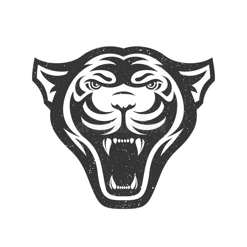 Panters hoofdembleem voor sportclub of team Dierlijke mascotte logotype malplaatje Vector illustratie stock illustratie