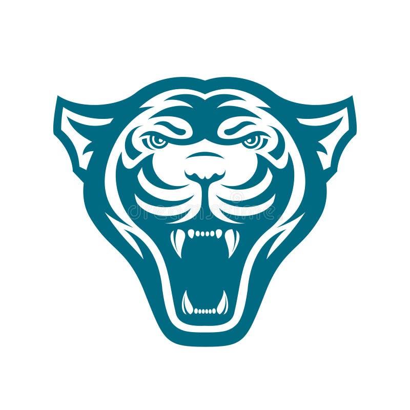 Panters hoofdembleem voor sportclub of team Dierlijke mascotte logotype malplaatje Vector illustratie royalty-vrije illustratie