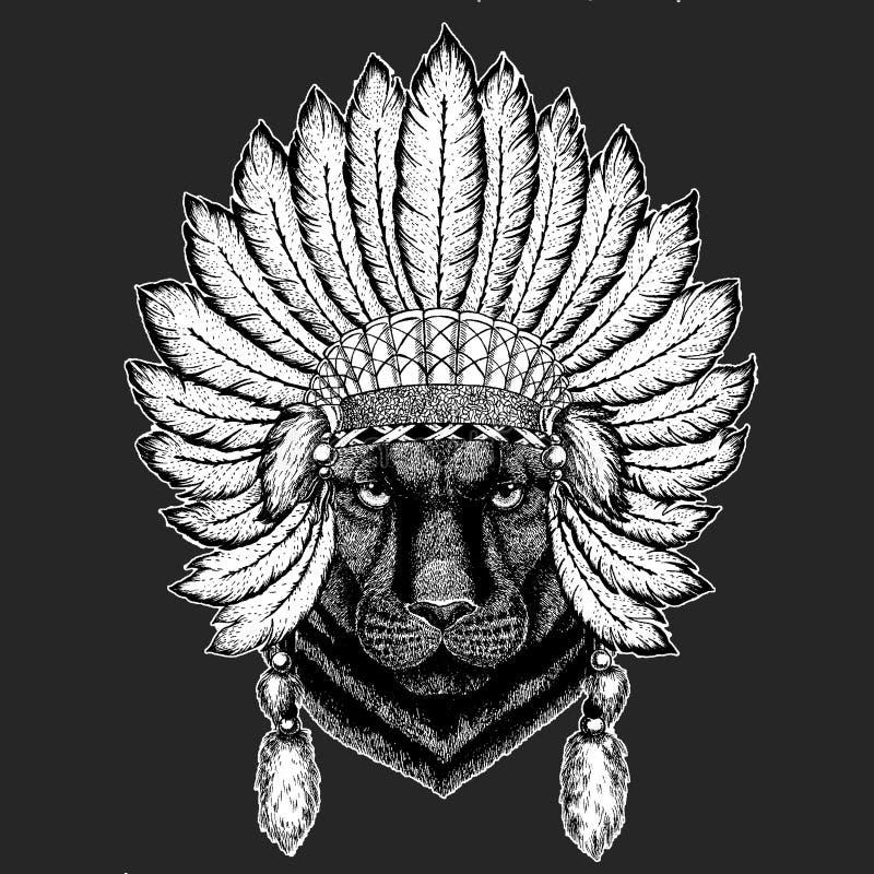Pantery pumy kuguara boho pióropuszu Tradycyjnego etnicznego indyjskiego Plemiennego szamanu kapeluszowy Ceremonialny element royalty ilustracja
