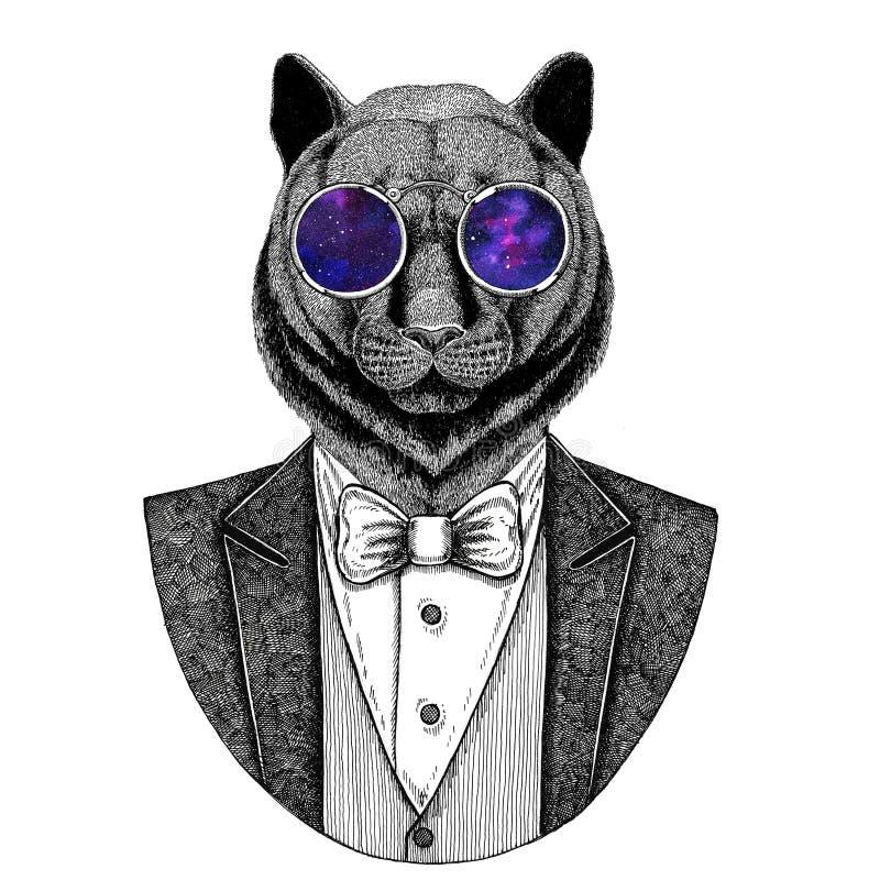 Pantery pumy kuguara catHipster Dzika zwierzęca ręka rysująca ilustracja dla tatuażu, emblemat, odznaka, logo, łata, koszulka royalty ilustracja
