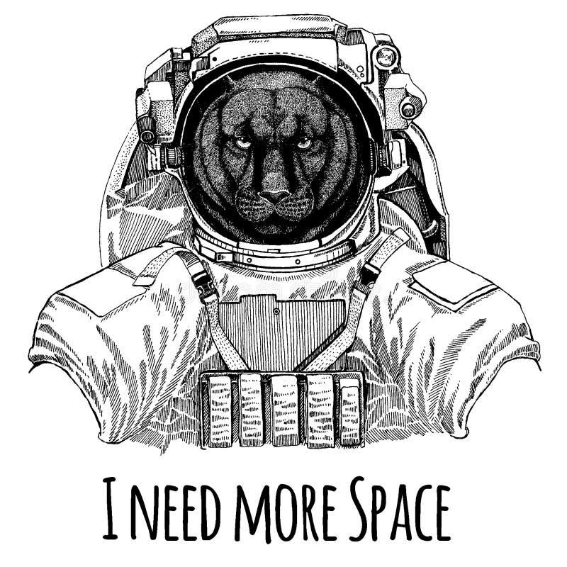 Pantery pumy kuguara kota Dziki astronauta Astronautyczny kostium Wręcza patroszonego wizerunek lew dla tatuażu, koszulka, emblem ilustracja wektor