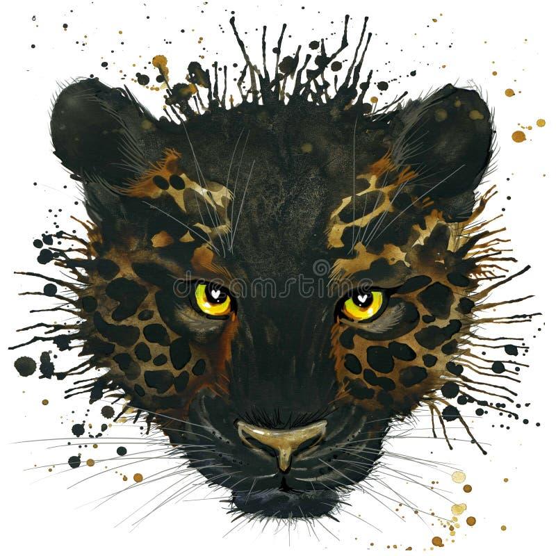 Panthère noire drôle avec l'éclaboussure d'aquarelle texturisée illustration de vecteur