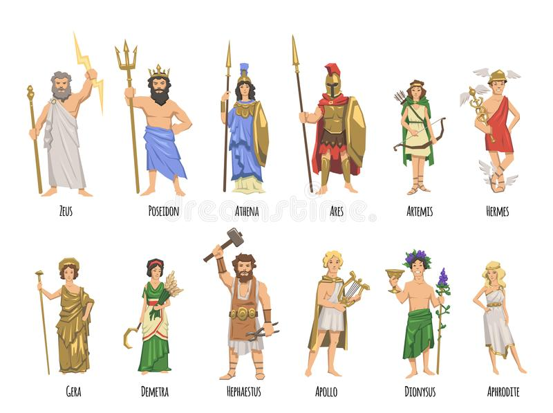 Pantheon Of Ancient Greek Gods Mythology Set Of Characters