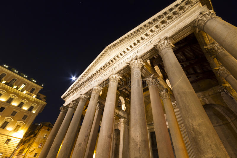 Pantheon Columns and Moonlight Rome royalty free stock photo