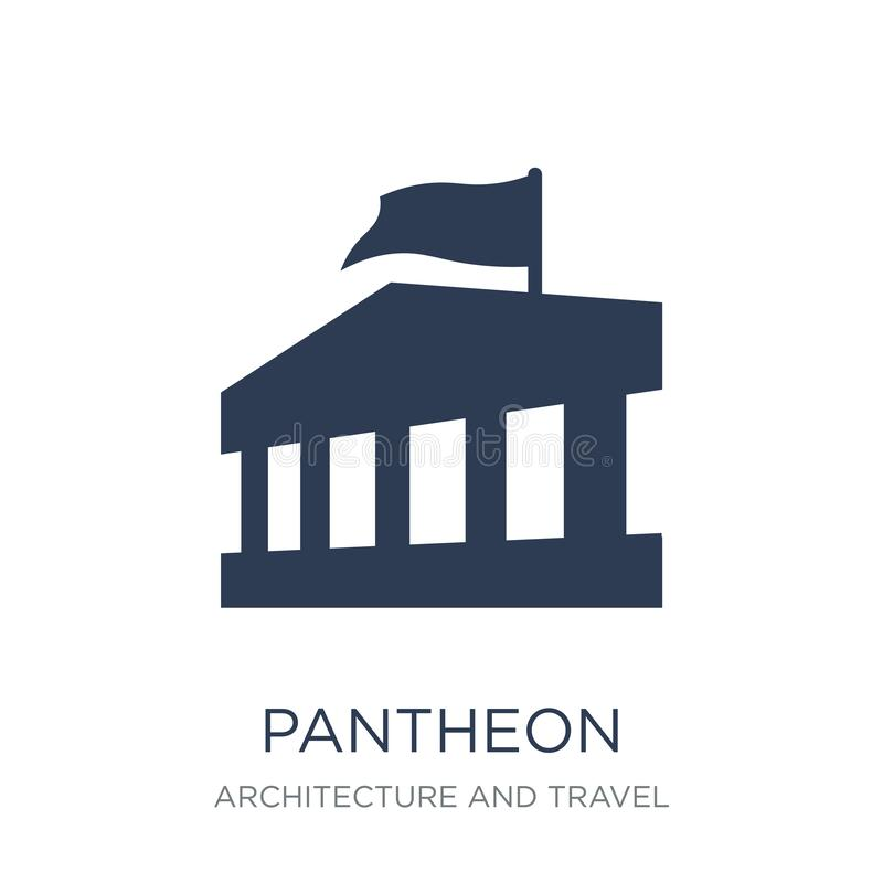 Pantheon icon. Trendy flat vector Pantheon icon on white background from Architecture and Travel collection. Vector illustration can be use for web and mobile stock illustration