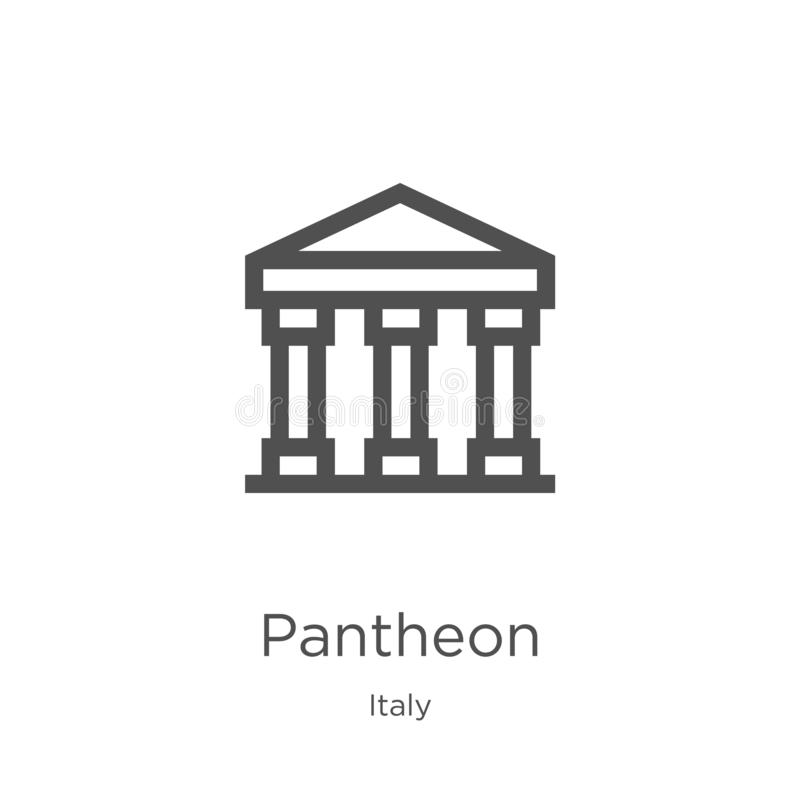 Pantheon icon vector from italy collection. Thin line Pantheon outline icon vector illustration. Outline, thin line Pantheon icon vector illustration