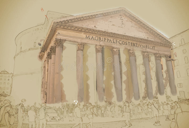 Pantheon, Rome royalty-vrije illustratie