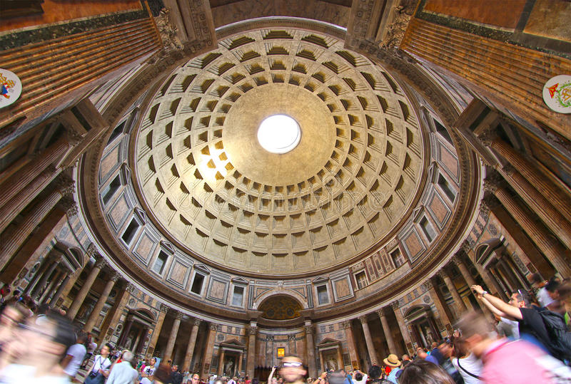 The Pantheon in Rome, Italy, as seen from inside royalty free stock image