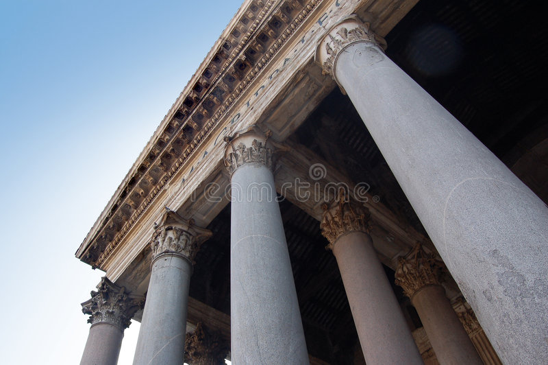 The Pantheon, Rome, Italy. Under the portico of the Pantheon. A different view on Rome
