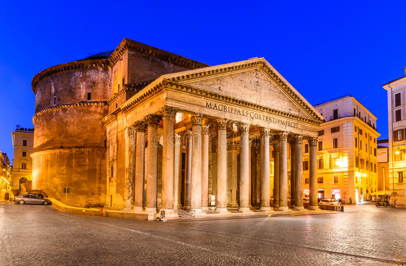 Pantheon, Rome, Italy. Night image of Pantheon, ancient architecture of Rome, Italy, dating from Roman Empire civilization royalty free stock photos