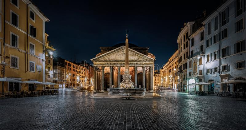 Pantheon in Rome at night stock photos