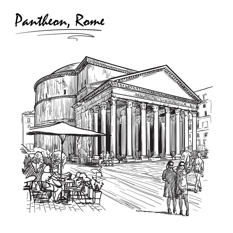 Pantheon sketch on a white BG stock photography