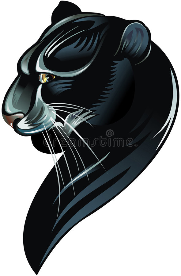 Panther. Silhouette of the black panther on white background