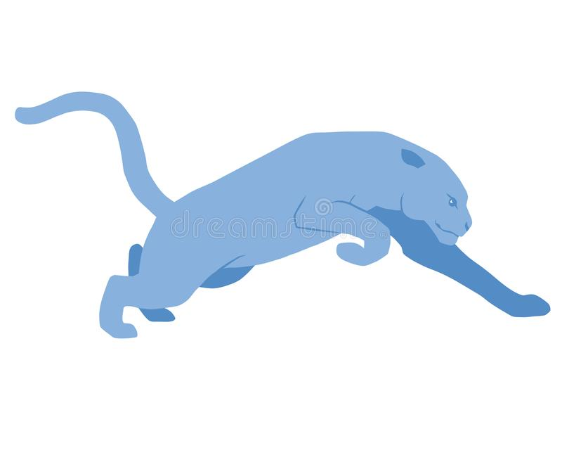 Blue panther, running. A symbol of strength and dexterity, gives a sense of freedom vector illustration