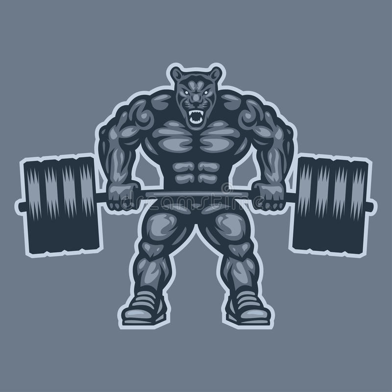 Growling Panther Face Stock Vector 585261455: Panther Bodybuilder Lifting Barbell And Growls Stock