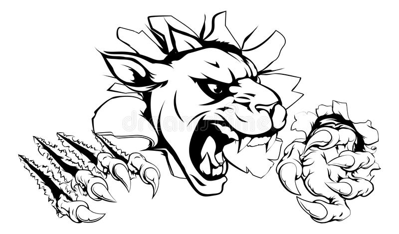 Panther claw breakthrough vector illustration