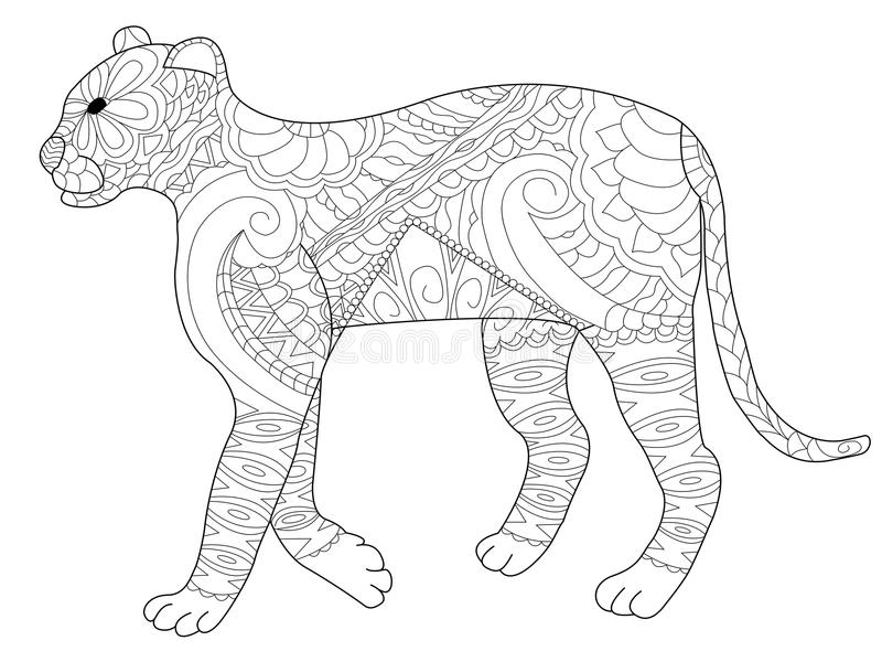 panther coloring vector for adults stock vector