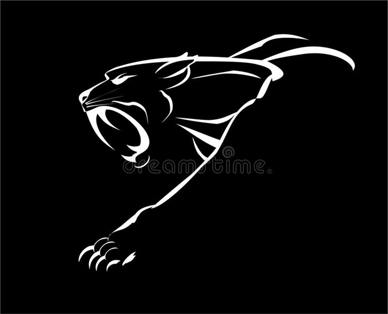 panther cougar de spierpanter van het hoektandgezicht stock illustratie