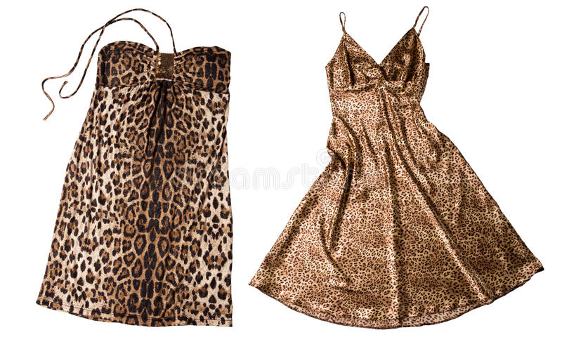 Panther dress. Two different panther dresses isolated on white background royalty free stock photo