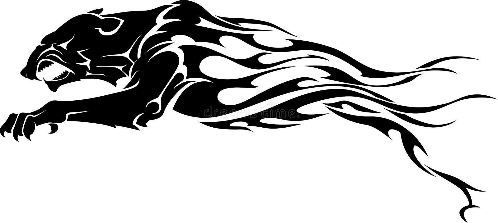 Panther Flame Tattoo royalty free illustration
