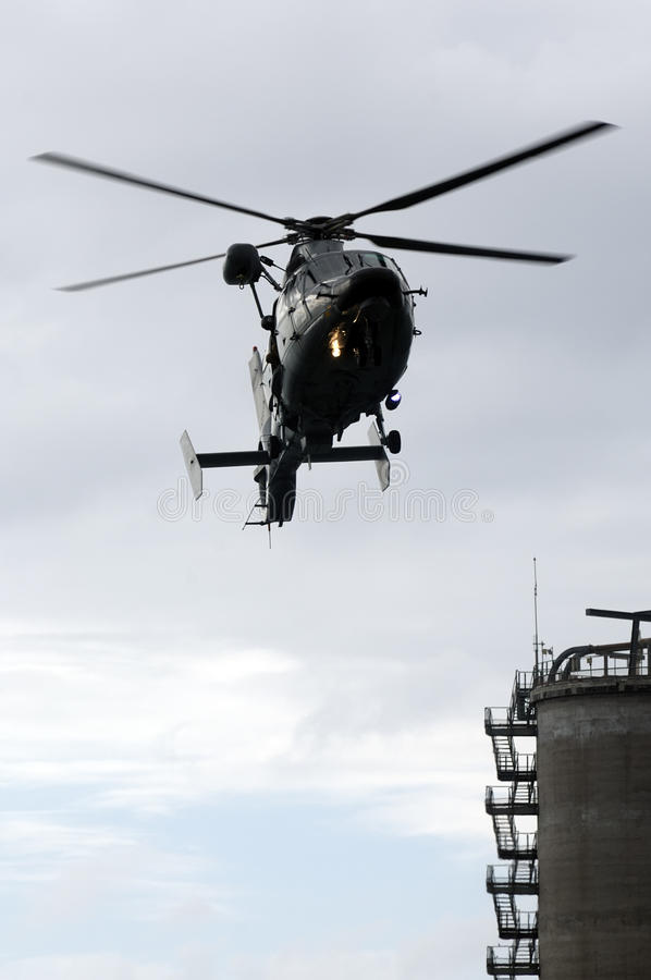 Panther helicopter of the French Navy. Exercice with Panther helicopter of the French Navy royalty free stock image