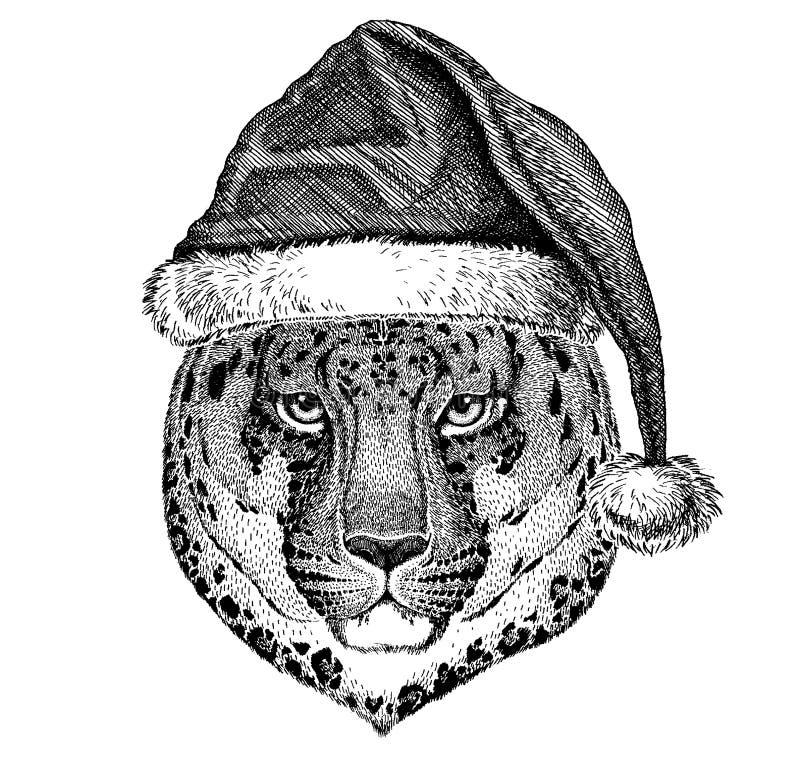 Panther, jaguar, leopard wearing christmas Santa Claus hat. Hand drawn image for tattoo, emblem, badge, logo, patch. Animal wearing christmas Santa Claus hat vector illustration