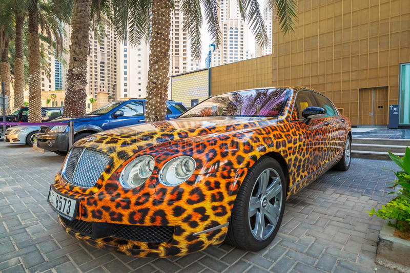 Panther paint Bentley parked outside the Hilton Dubai Hotel. DUBAI, UAE - MARCH 30, 2014: Panther paint Bentley parked outside the Hilton Dubai Hotel on 30 March royalty free stock photo