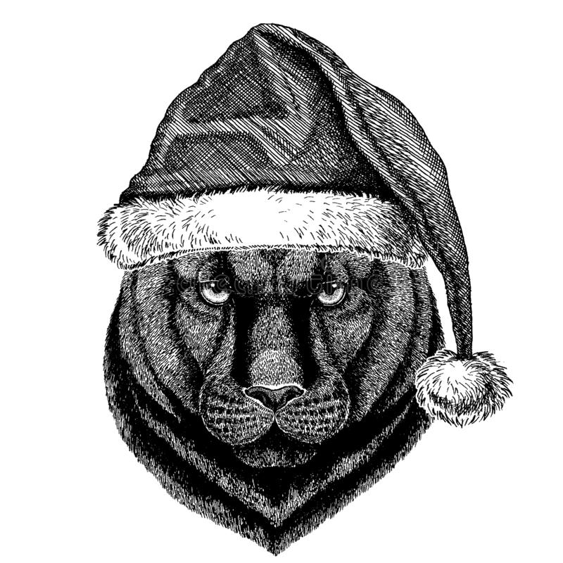 Panther, puma, cougar, wild cat wearing christmas Santa Claus hat. Hand drawn image for tattoo, emblem, badge, logo. Animal wearing christmas Santa Claus hat royalty free illustration