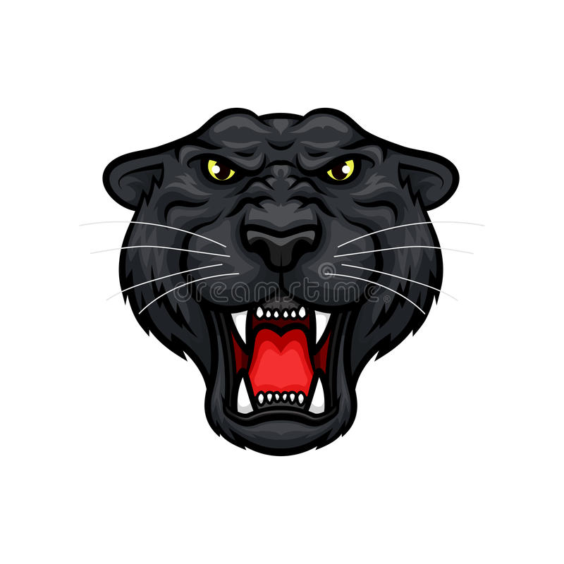 Panther roaring head muzzle vector mascot icon. Black panther vector mascot. Roaring jaguar or leopard large wild cat muzzle with sharp canines jaw and yellow vector illustration