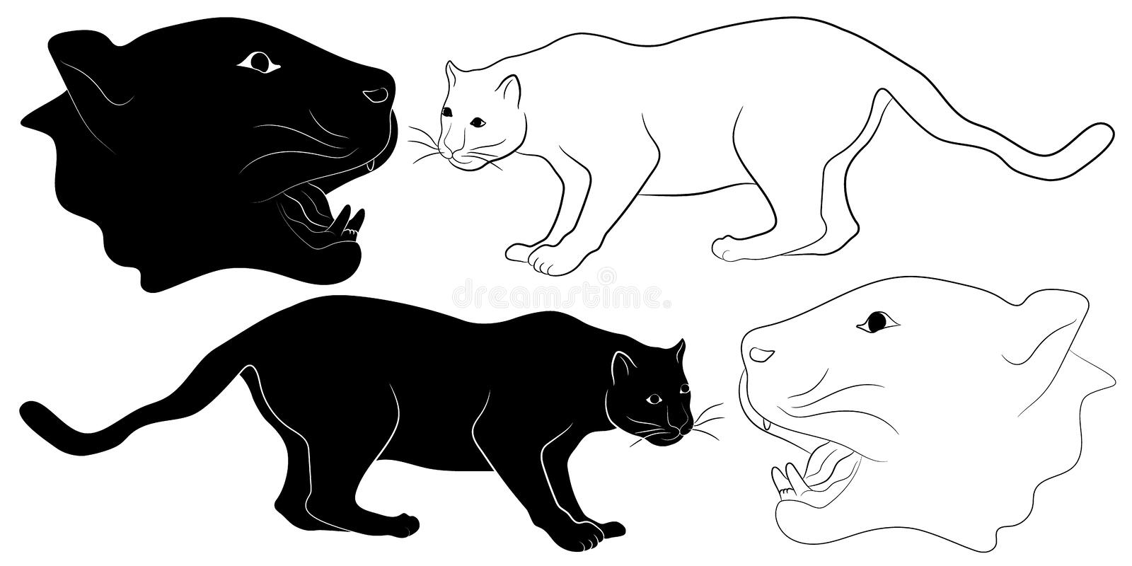 Panther silhouette and outline royalty free illustration