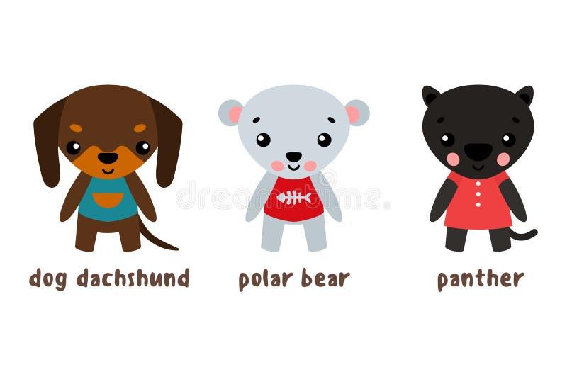 Panther und Eisbär, Hundesatz von Zeichentrickfilm-Figuren lizenzfreie abbildung