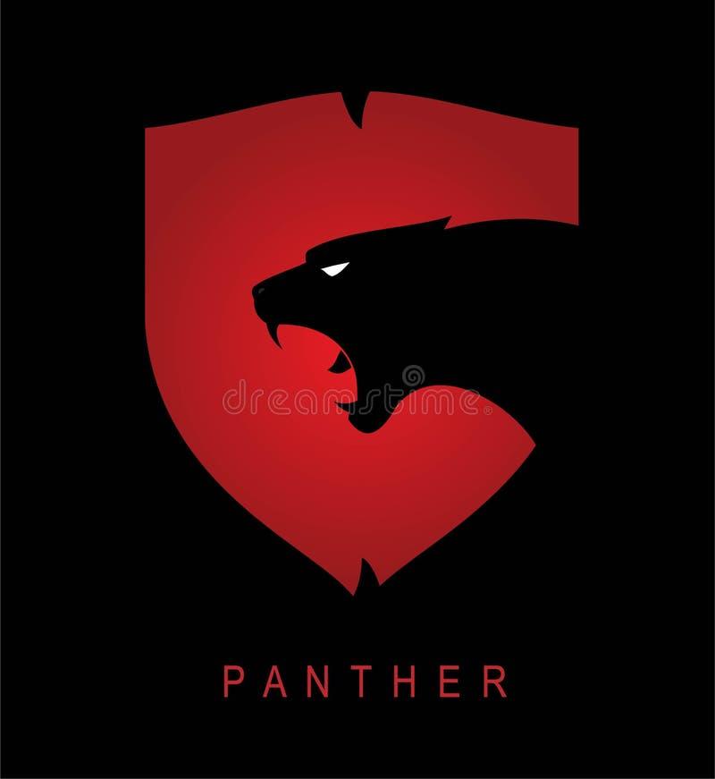 panther Zwarte Panter Panterhoofd en schild stock illustratie