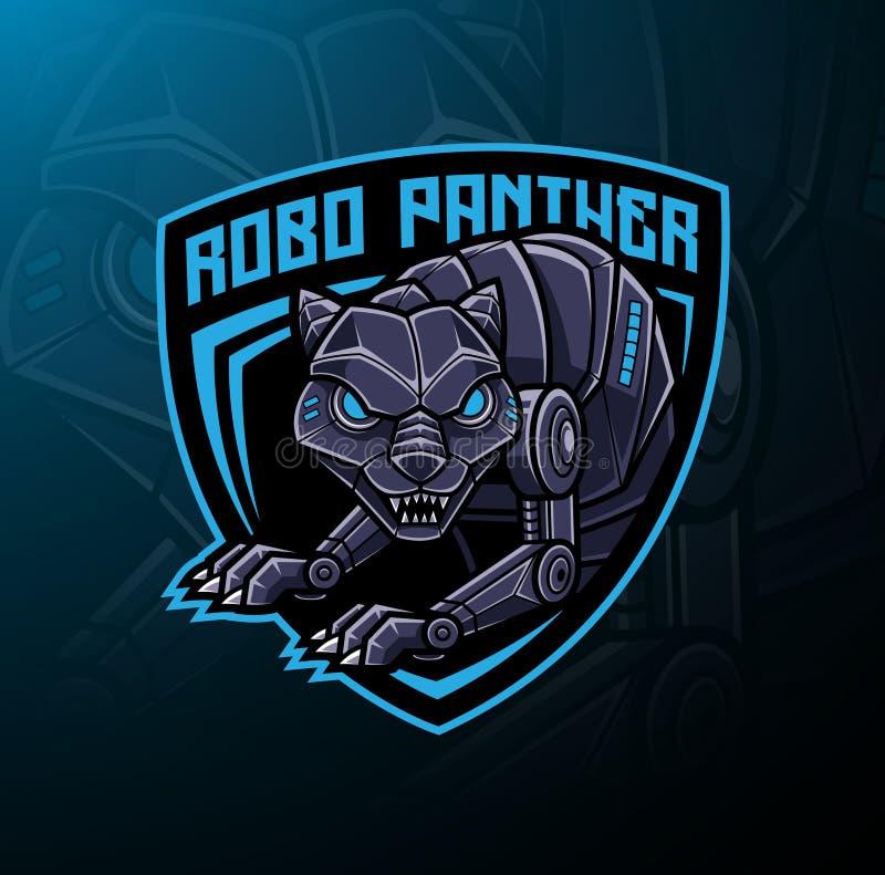 Pantherrobotermaskottchen-Logoentwurf vektor abbildung