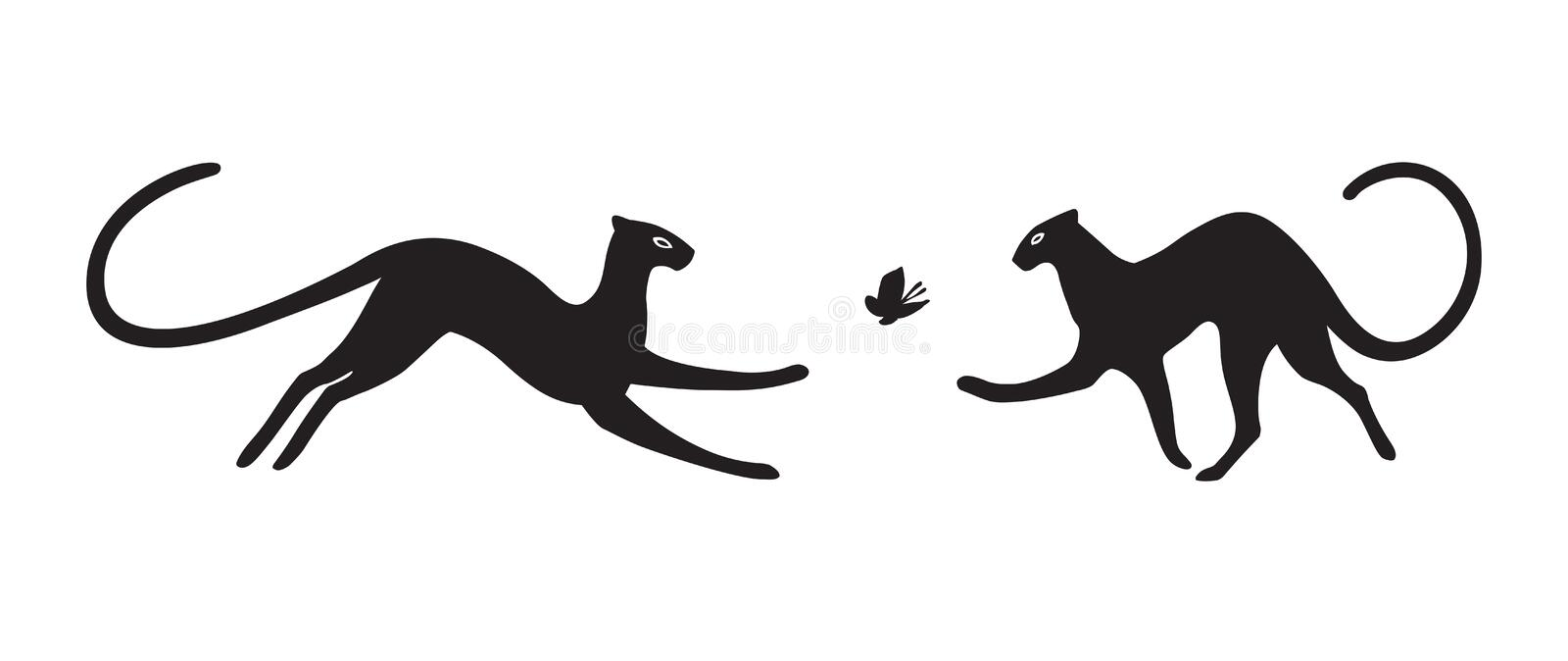 Panthers on white background. Vector isolated. royalty free illustration