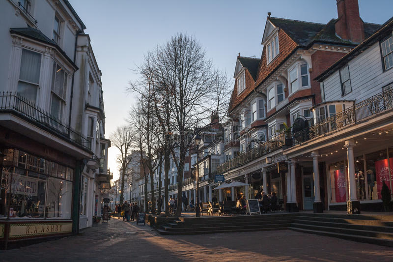 The Pantiles, Tunbridge Wells. The Pantiles in December, Royal Tunbridge Wells royalty free stock photo