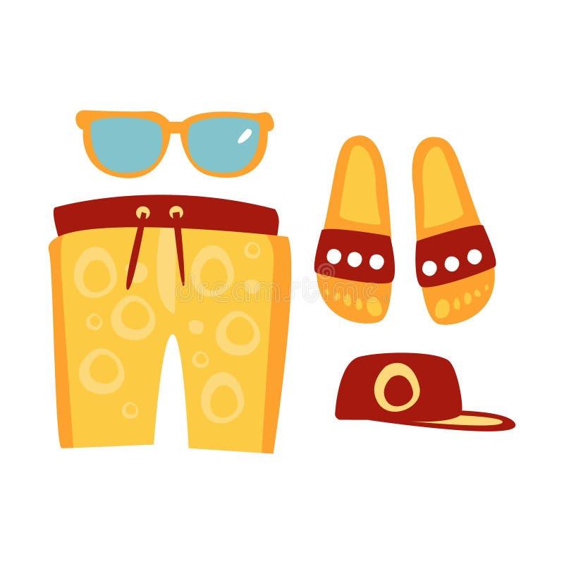 Pantoffel, kurze Hosen, Sonnenbrillen und Kappe in den roten und gelben Farben Bunte Karikaturillustration vektor abbildung