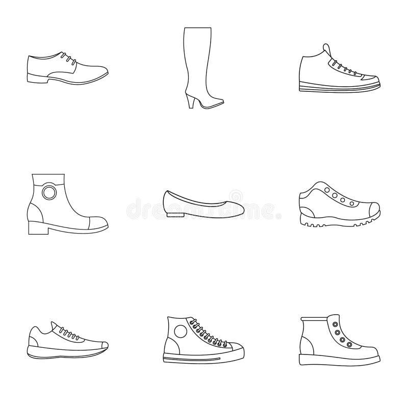 Pantoflowe ikony ustawiać, konturu styl royalty ilustracja
