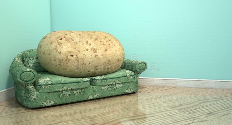 Pantofolaio sul vecchio sofà illustrazione vettoriale