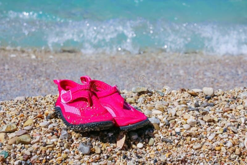 Pantofole di corallo Scarpe della ragazza di estate per la spiaggia delle pietre Pattini dentellare dell'acqua Scarpe che protegg fotografie stock libere da diritti