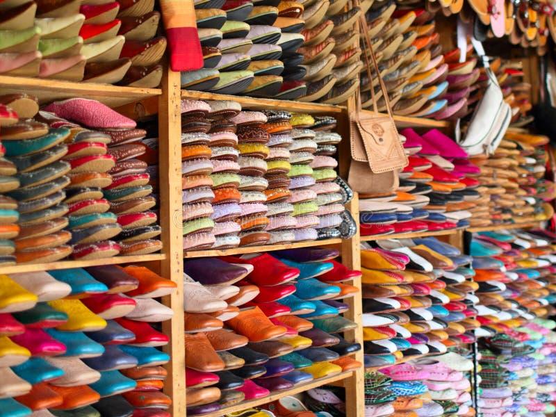 Pantofole marocchine di cuoio immagine stock libera da diritti