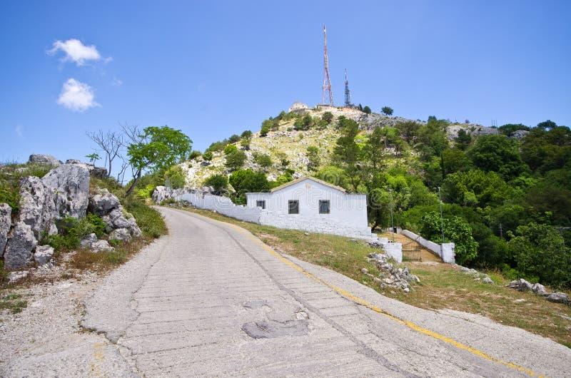 Pantokratorberg op het eiland van Korfu, Griekenland stock afbeeldingen