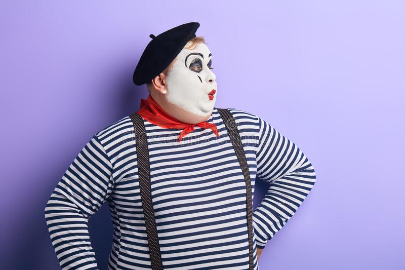 Pantomime actor performing on the stage stock photos