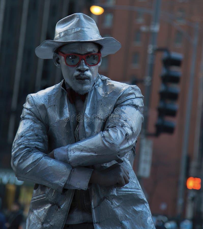Pantomime afro-américain de rue Chicago du centre image libre de droits