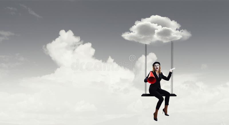 Pantomime de jeune femme Media mélangé illustration stock