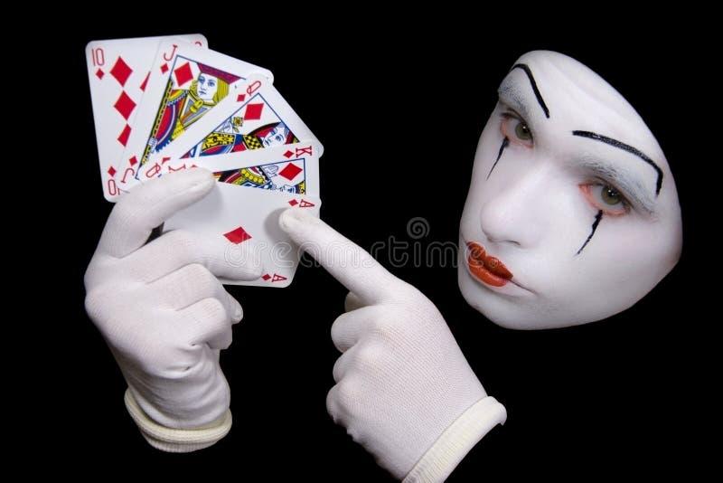 Pantomime mit Spielkarten lizenzfreie stockfotos