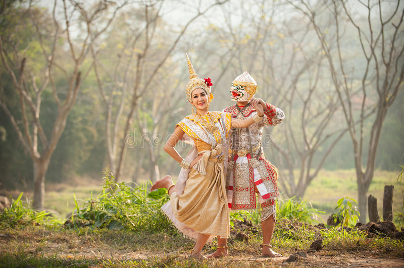 Pantomime performances in Thailand royalty free stock image