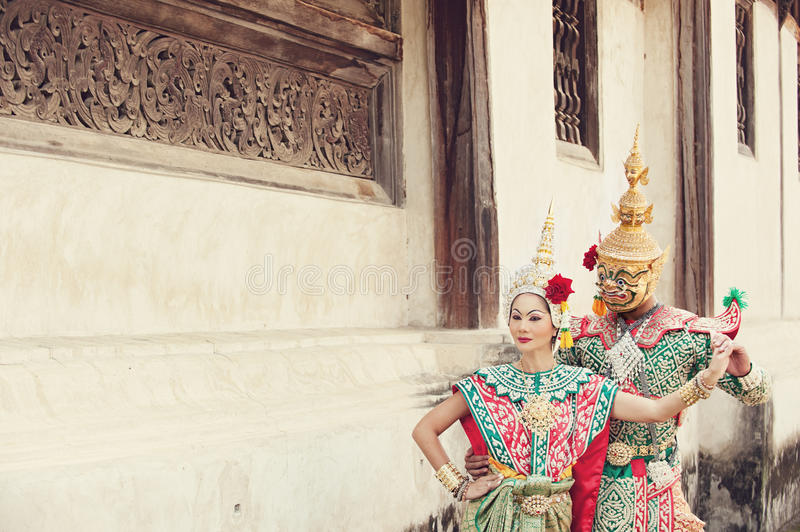 Pantomime performances in Thailand stock image